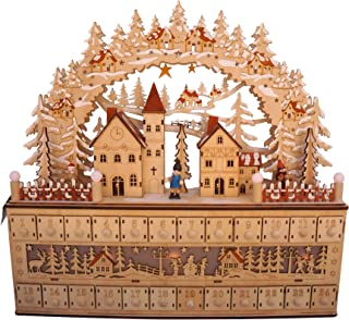 LED Lighted Wooden Bavarian Scene Advent Calendars - Christmas Decoration with 24 Storage Drawers (Village)