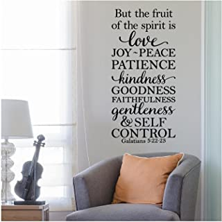 """But The Fruit of The Spirit is Love, Joy, Peace, Patience, Kindness, Goodness, Faithfulness.Galatians 5:22-23 Vinyl Lettering Wall Decal Sticker (34""""H x 16""""W, Black)"""
