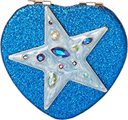 Star Blue Ombre Glitter Heart Compact in a Betsey Johnson Pouch