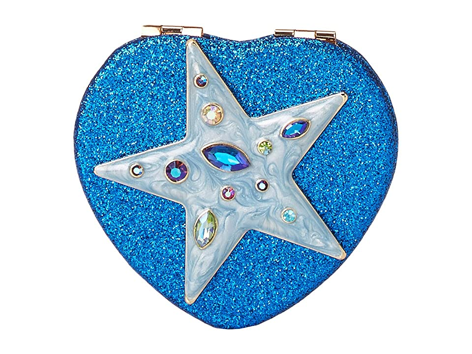 Betsey Johnson Star Blue Ombre Glitter Heart Compact in a Betsey Johnson Pouch (Blue) Treatment Cosmetics