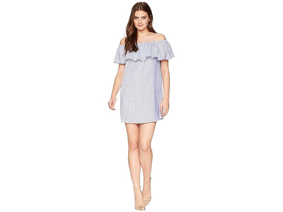 Bishop + Young Stripe Off Shoulder Dress (Blue/White Stripe) Women