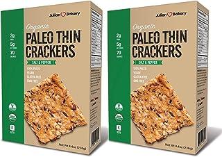 Julian Bakery Paleo Thin Crackers   Salt & Pepper   USDA Organic   Gluten-Free   Grain-Free   GMO Free   Low Carb   2 Pack