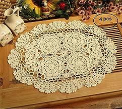 Azerlee Crochet Cotton Lace Placemats Oval Doilies, 4pc, 12 X 18 Inch, Beige