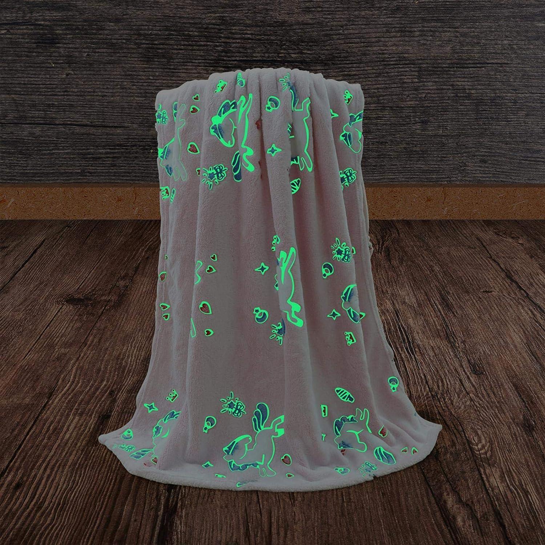Glow In The Dark Throw Couverture Couverture En Molleton Doux Et Confortable Avec Motif Licorne Pour Enfants Couverture Lumineuse