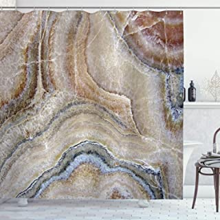 Ambesonne Marble Shower Curtain, Surreal Onyx Stone Surface Pattern Pale Blue Details Picture, Cloth Fabric Bathroom Decor Set with Hooks, 70