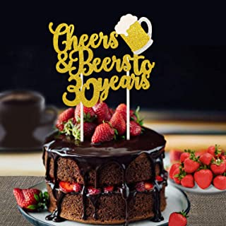 Faisichocalato Cheers & Beers to 30 Years Gold Glitter Cake Topper for 30th Birthday Wedding Anniversary Party Decorations