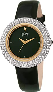 Burgi Women's BUR199 Swarovski Crystal & Diamond Accented Leather Strap Watch Packed in a Beautiful Gift Box for Valentine...