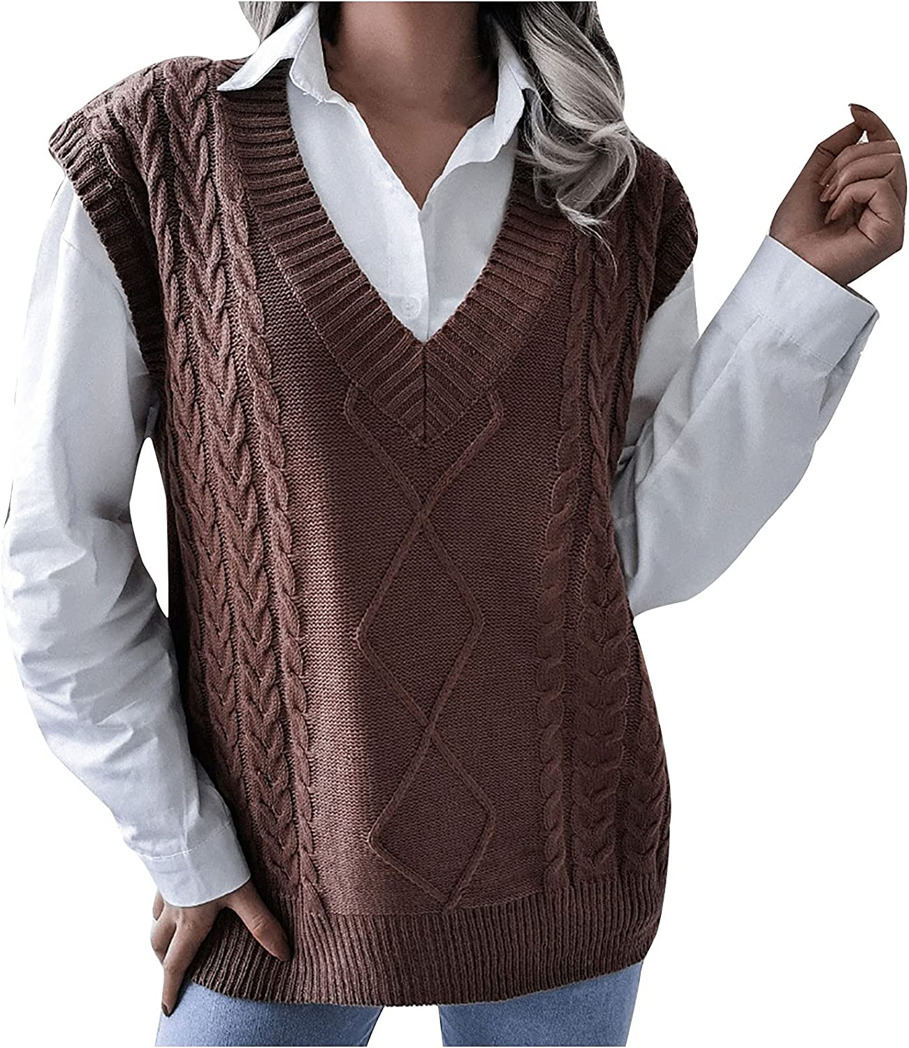 Yuege Women Casual V-Neck Hollow Knitted Vest Sweater Vest