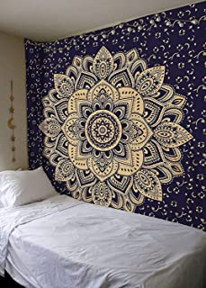 New Launched Blue Gold Passion Ombre Mandala Tapestry By Madhu International, Boho..