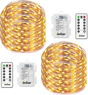 Homestarry 2 Sets Fairy Lights, Battery Operated String Lights Waterproof 8 Modes with Remote, 50 Led 16.4 ft Indoor Light...