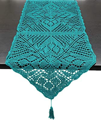 """Fennco Styles Handmade Crochet Lace Design Cotton Table Runner with Tassels (Teal, 16"""" x 72"""" Table Runner)"""