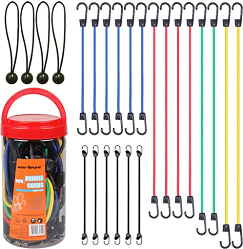 "Cartman Bungee Cords Assortment Jar 24 Piece in Jar - Includes 10"", 18"", 24"", 32"", 40"" Bungee Cord and 8"" Canopy/Tarp..."