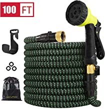 HIYUTOY Garden Hose Expandable Hose - Heavy Duty Flexible Leakproof Hose-10-Pattern High-Pressure Water Spray Nozzle & Bag & Plastic Holder.No Kink Tangle-Free Pocket Water Hose (100FT)