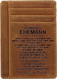 Portatarjetas de piel marrón personalizable con bloqueo RFID para hombre, soporte para tarjetas de crédito, bolsillo front...