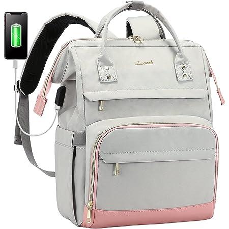 LOVEVOOK Laptop Rucksack Damen wasserdicht Rucksäcke Damen 15,6 Zoll mit Laptopfach stylischer Schulrucksack Mädchen für Universität Reisen Arbeit Business, Grau Rosa
