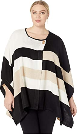 Plus Size Color Block Poncho with Hardware