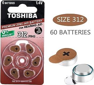Toshiba Premium Zinc Hearing Aid Batteries,1.4V Size 312,PR41, 60-Count