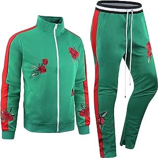 New Men Stripe Zip Pocket Track Pants Sweatsuit Track Suit