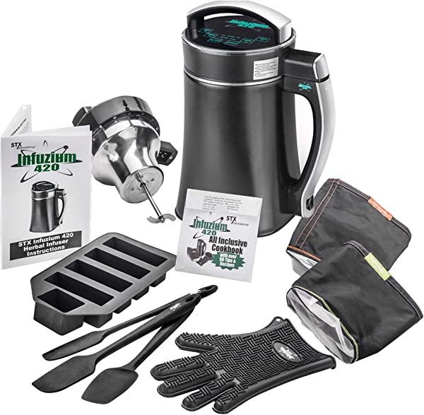 STX Infuzium 420 Herbal Butter Infuser Extractor Machine Complete Kit 2 Sticks 1 Cup Up To 8 Sticks 4 Cups Butter 2 Filters 3 Silicone Spatulas Silicone Glove Butter Mold The Official Infuzium 420 Cookbook Over 80 Magical Recipes Tips