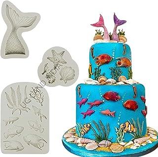 UG LAND INDIA Marine Theme Cake Fondant Mold - Seaweed Fish Seashell Coral Mermaid Tail Silicone Mold for Mermaid Theme Ca...