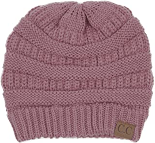94ec181358f BYSUMMER Warm Soft Cable Knit Skull Cap Slouchy Beanie Winter Hat (Mauve  Pink)