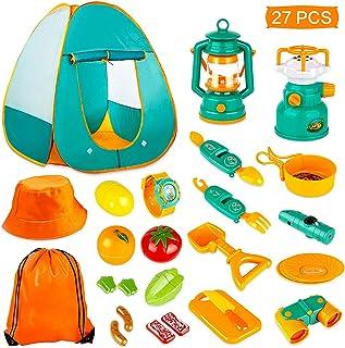 مجموعه KAQINU 26 PCS کودکان و نوجوانان کمپینگ ، کودکان و نوجوانان Pop Up چادر را با اسباب بازی های ابزار ابزار Camping ، کیت های ماجراجویی در فضای باز سرپوشیده بازی پیش زمینه بازی برای پسران و دختران نوپا بازی کنید
