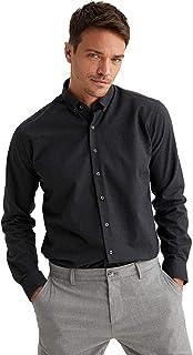 DeFacto Heren Modern Fit Polo Neck Woven Top Heren Shirt met lange mouwen