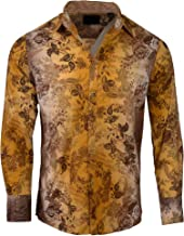 'Whole Lotta Love' Men's Long Sleeve Button up Psychedelic Dress Shirt in Beige 1176