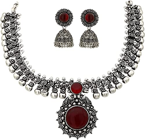 Sasitrends Oxidised German Silver Necklace with Jumki for Women and Girls product image