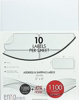enKo - 2 x 4 Inch Label - White Blank - 10 Up Address Mailing Labels for Laser Inkjet Printer (110 Sheets, 1100 Labels)