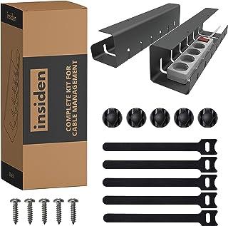 INSIDEN - Kit complet pour Cable Management - Supports de câbles en Métal - Passe Cable bureau - Rangement Cable bureau - ...