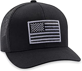 black and grey american flag hat