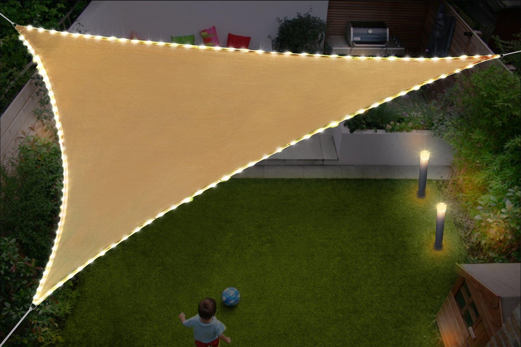 DIIG Toldo Triangular para toldo de Vela de 30 x 30 x 30, 5 cm, Resistente a los Rayos UV, con Luces de Cadena Impermeables, con USB Alimentado para Patio o jardín