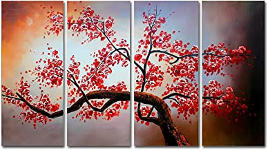 FLY SPRAY 4-Piece Oil Paintings Canvas Wall Art Panels Stretched Framed Ready Hang Red Flowers Plum Blossom Tree Plant Modern Abstract Artwork Living Room Bedroom Office Home Decor