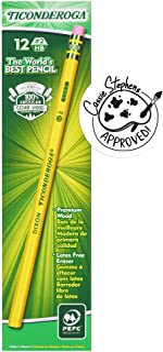 Dixon Ticonderoga Wood-Cased Pencils, 2 HB, Yellow, Box of 12 (13882)