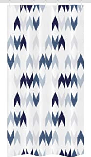 Ambesonne Navy Stall Shower Curtain, Abstract Ikat Chevron with Hazy Zigzag Folk Traditional Image, Fabric Bathroom Decor Set with Hooks, 36