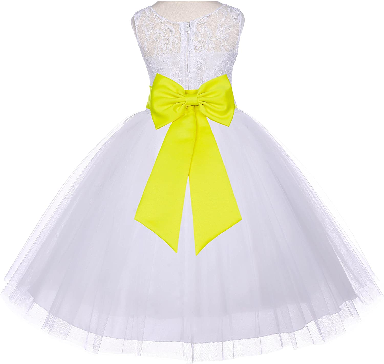 Wedding Pageant Sleeveless Lace Bodice Ivory Tulle Flower Girl Dress 153T