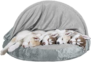 Furhaven Cozy Pet Beds for Small, Medium, and Large Dogs and Cats - Snuggery Hooded Burrowing Cave Tent, Deep Dish Cushion...