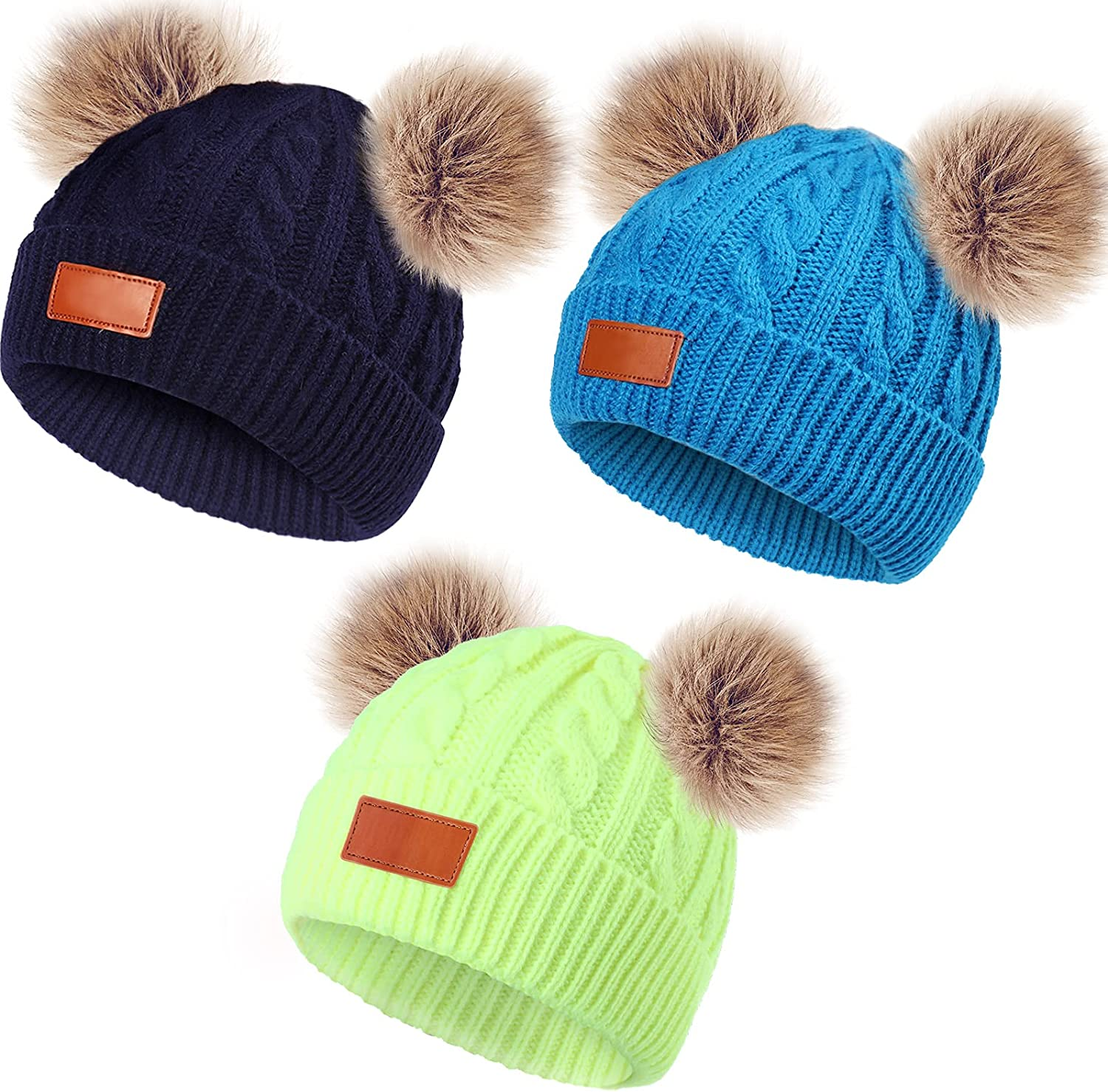 3 Pieces Kids Winter Pompom Hat Knitted Ski Beanie Hat Double Pom Beanie Cap for Girls Boys, for 1-3 Years Old