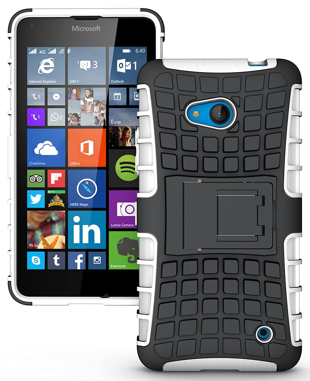 NAKEDCELLPHONE'S WHITE GRENADE GRIP RUGGED TPU SKIN HARD CASE COVER STAND FOR NOKIA LUMIA 640 PHONE (AT&T, T-Mobile, MetroPCS, Unlocked)