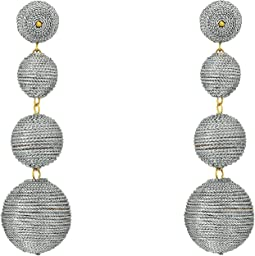 Kenneth Jay Lane 3 Metallic Silver Thread Small To Large Wrapped Ball Post Earrings w/ Dome Top