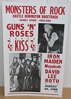Guns N Roses Megadeath Iron Maiden Kiss Concert Poster 1988 England