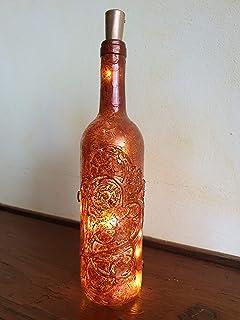 Bottiglia Decorativa con Cuore, Rosso/Bronzo con Luce, Idea Regalo San Valentino