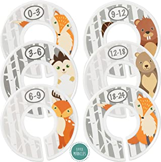 Baby Closet Size Dividers - Woodland Nursery Closet Dividers for Baby Clothes - Fox Deer Bear Hedgehog Beaver Nursery Decor - Baby Closet Dividers for Boy or Girl - [Woodland] [Grey/Gray]