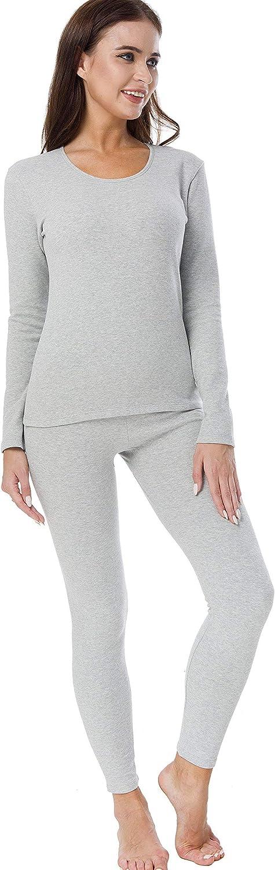 HieasyFit Women's Mid-Weight Cotton Thermal Underwear 2pc Winter Base Layer Set