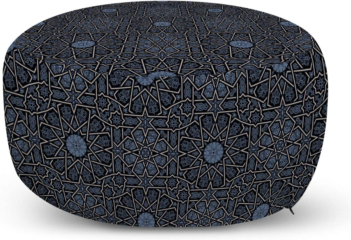 Ambesonne Moroccan Ottoman Pouf, Geometric Design with Old Rich Royal Elements and Moroccan Star Dark, Decorative Soft Foot Rest with Removable Cover Living Room and Bedroom, Black Cream