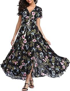2fc7bb65061 VOGMATE Femme Robe Chic Longue Col V à Fleur Manches Courtes en Coton Robe  Maxi de