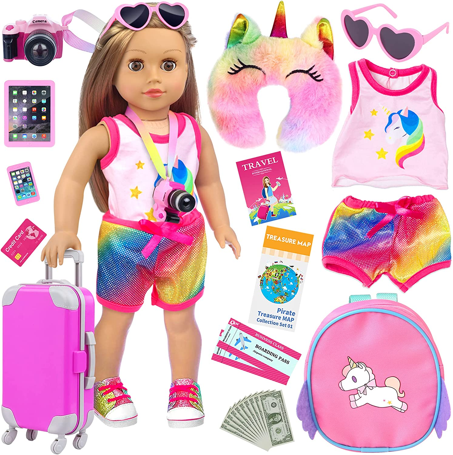 UNICORN ELEMENT 23 Pcs American 18 Inch Girl Doll Accessories Suitcase Travel Set Including Clothes Suitcase Backpack Camera Ipad Cell Phone Neck Pillow Sunglasses and Other Travel Set