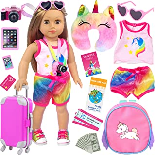 UNICORN ELEMENT 23 Pcs American 18 Inch Girl Doll Accessories Suitcase Travel Set Including Clothes Suitcase Backpack Came...