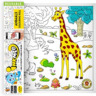 Inkmeo Animals Wall Colouring Roll Enter The Jungle with Your Favourite Animals ! Reusable, Augmented Reality Enabled Lear...